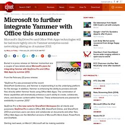 Microsoft to further integrate Yammer with Office this summer