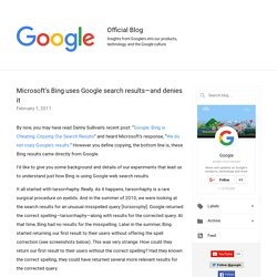 Microsoft's Bing uses Google search results—and denies it