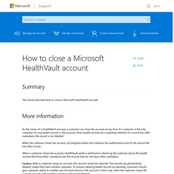 How to close a Microsoft HealthVault account