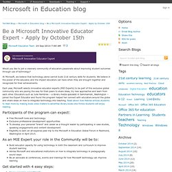 Be a Microsoft Innovative Educator Expert - Apply by October 15th - Microsoft in Education blog