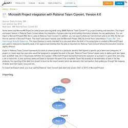 Microsoft Project integration with Rational Team Concert, Version 4.0
