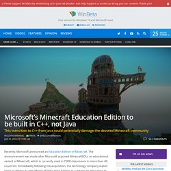 Microsoft's Minecraft Education Edition to be built in C++, not Java