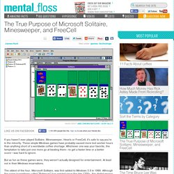 The True Purpose of Microsoft Solitaire, Minesweeper, and FreeCell