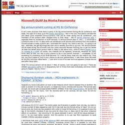 Microsoft OLAP by Mosha Pasumansky