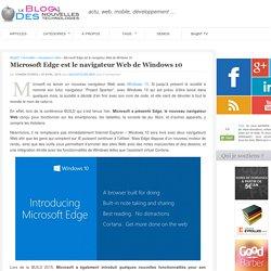 Microsoft Edge est le navigateur Web de Windows 10