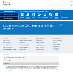 List of Microsoft XML Parser (MSXML) versions