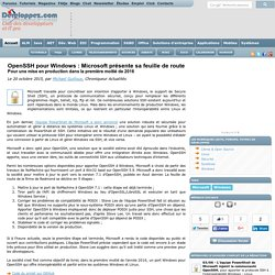 OpenSSH pour Windows : Microsoft présente sa feuille de route, pour une mise en production dans la première moitié de 2016