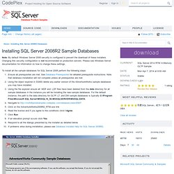 Microsoft SQL Server Product Samples: Database