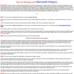 Microsoft Project Tips