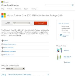 Download Microsoft Visual C++ 2010 SP1 Redistributable Package (x86) from Official Microsoft Download Center