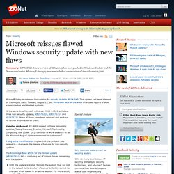 Microsoft reissues flawed Windows security update with new flaws