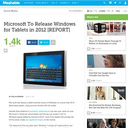 Microsoft To Release Windows for Tablets in 2012 [REPORT]