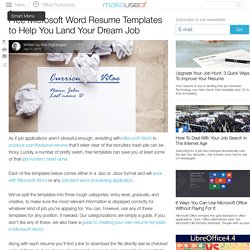 Free Microsoft Word Resume Templates to Help You Land Your Dream Job