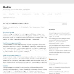 Microsoft Robotics Video Tutorials ~ EDA Blog