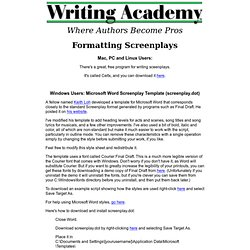 Writing Academy - Microsoft Word Screenplay Template