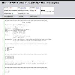Microsoft WINS Service <= 5.2.3790.4520 Memory Corruption
