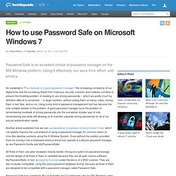 How to use Password Safe on Microsoft Windows 7