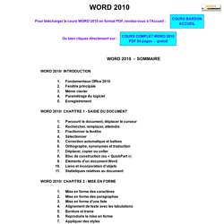 Cours Microsoft Office WORD 2010