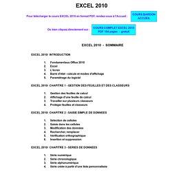 Cours BARDON - Microsoft Office EXCEL 2010 - Gratuit, clair, complet, téléchargeable au format PDF