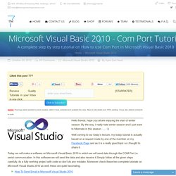 Microsoft Visual Basic 2010 – Com Port Tutorial