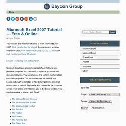 Microsoft Excel 2007 Tutorial—Free & Online