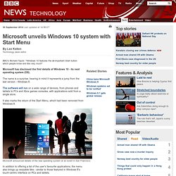 Microsoft unveils Windows 10 system with Start Menu