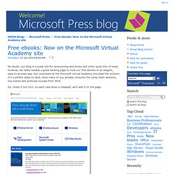 Free ebooks: Now on the Microsoft Virtual Academy site - Microsoft Press