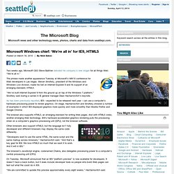 Microsoft Windows chief: 'We're all in' for IE9, HTML5