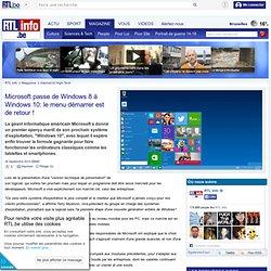 Microsoft passe de Windows 8 à Windows 10: le menu démarrer est de retour !