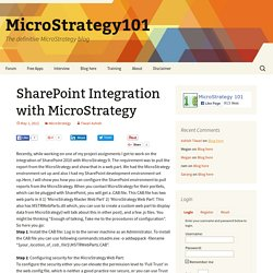 SharePoint Integration with MicroStrategy