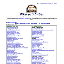 Middle-earth Recipes - recipes for Hobbits and Elves