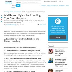 Middle and high school reading: Tips from the pros