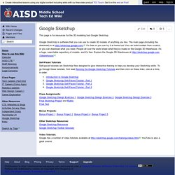 AISD Middle School Tech Ed - Google Sketchup