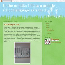 In the middle: Life as a middle school language arts teacher: 2013