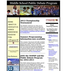 Middle School Public Debate Program
