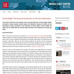 Middle East Centre – Human Rights: The Universal Declaration vs The Cairo Declaration