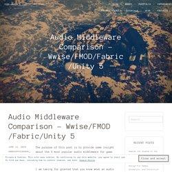 Audio Middleware Comparison – Wwise/FMOD/Fabric/Unity 5 – Game Audio & Digital Art Blog