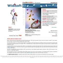 MP3 to MIDI and WAVE to MIDI Converter: WIDISOFT Home.