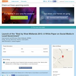 """Launch of the """"Best by West Midlands 2013: A White... Tickets, West Bromwich"""