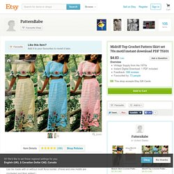 Midriff Top Crochet Pattern Skirt set 70s motif par PatternBabe