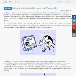 Mieux que le test de QI : votre profil Facebook !!
