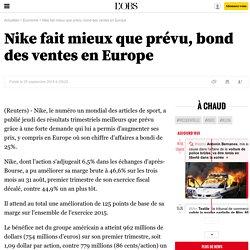 Nike fait mieux que prévu, bond des ventes en Europe - 26 septembre 2014