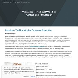 Migraines - The Final Word on Causes and Prevention