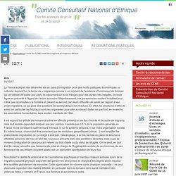 Avis du CCNE santé des migrantset exigence éthique