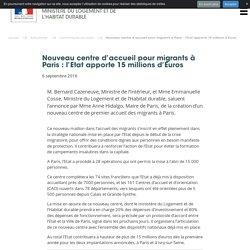 Nouveau centre d'accueil pour migrants à Paris : l'Etat apporte 15 millions d'Euros - Ministère du Logement et de l'Habitat durable