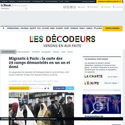 Migrants à Paris : la carte des 29camps démantelés en un an et demi