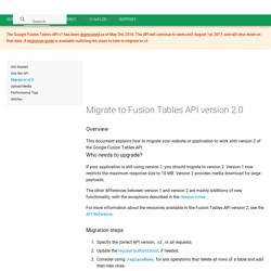 Migrate to Fusion Tables API version 2.0
