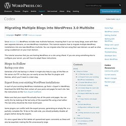 Migrating Multiple Blogs into WordPress 3.0 Multisite
