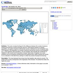 Net migration rate by country - Thematic Map - World