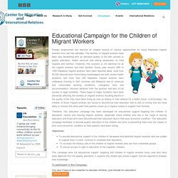 Center for Migration and International Relations - Education Campaign
